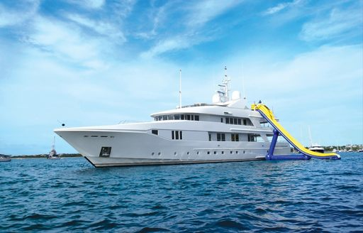Superyacht RHINO's waterslide in the British Virgin Islands