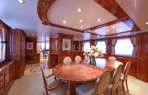 formal dining room on board superyacht DXB