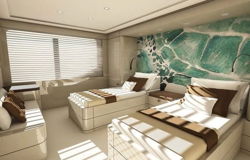 guest accommodation on soaring yacht with blue wall panel