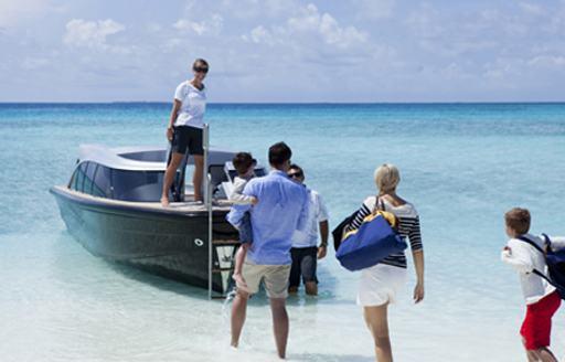 Charter family board the limo tender belonging to sailing yacht VERTIGO