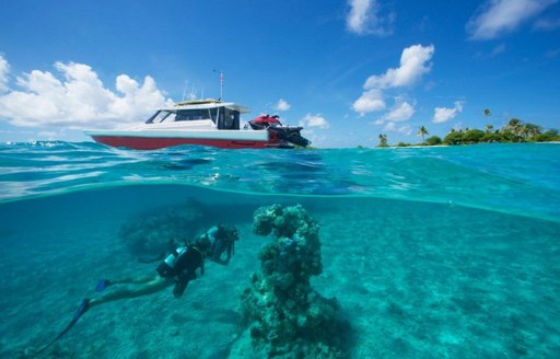 guest aboard expedition yacht SENSES scuba dives in the South Pacific with tender waiting above the water