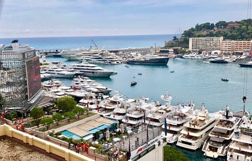 A line-up of yachts in Port Hercules for the Monaco Grand Prix 2018