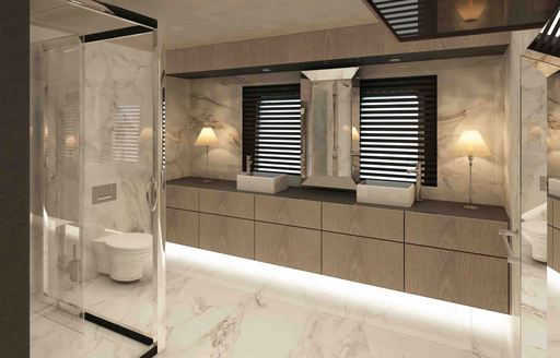 marble en suite bathroom aboard superyacht All About You