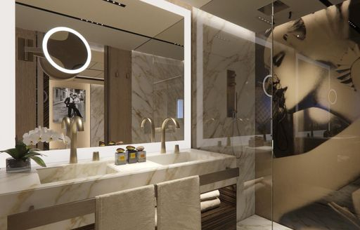 the master ensuite inside charter yacht geco with his and hers sink and bright airy atmosphere