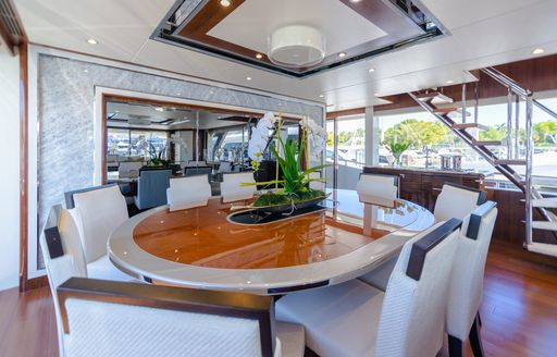 Formal dining onboard MY I C