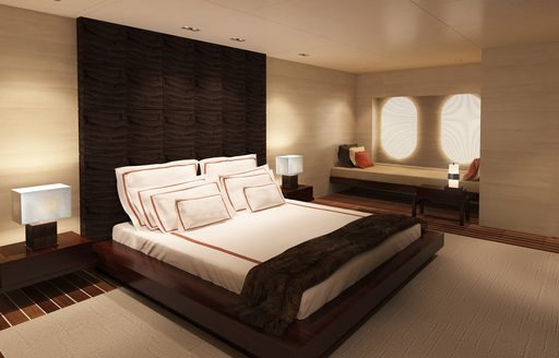 rendering of the light and airy master suite aboard luxury yacht CHASSEUR
