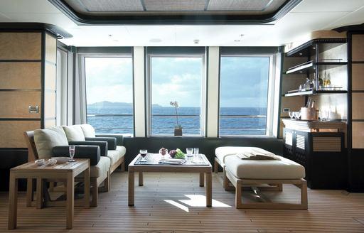 Sophisticated sun deck on luxury yacht HARLE