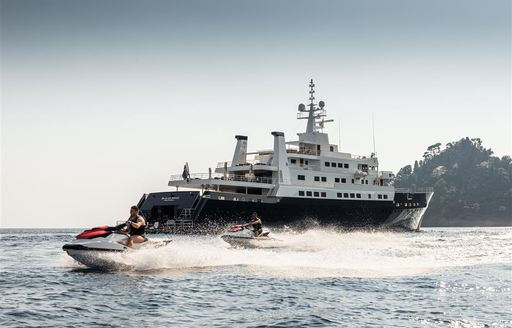 Water toys moving at speed outside superyacht Bleu De Nimes
