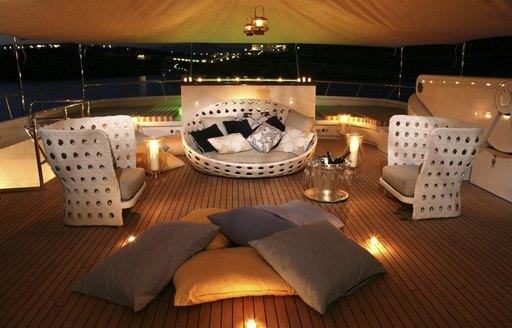 luxury motor yacht PEGASUS deck comfy seating area