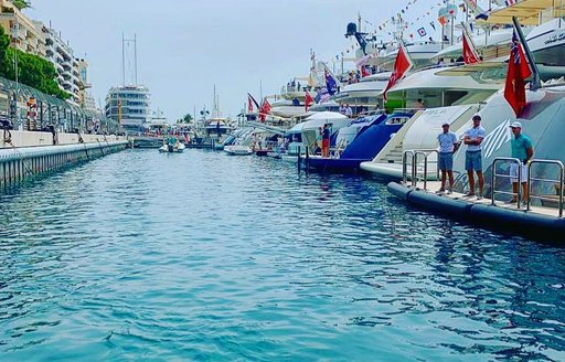 Tender arriving to luxury yachts during Monaco Grand Prix