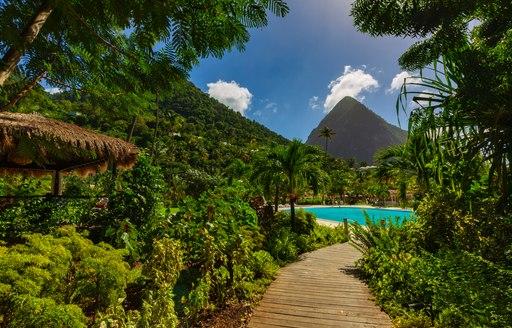 Santa Lucia - La Souffriere bay - Caribbean Island, Beautiful white sand beach in Saint Lucia, Caribbean Islands