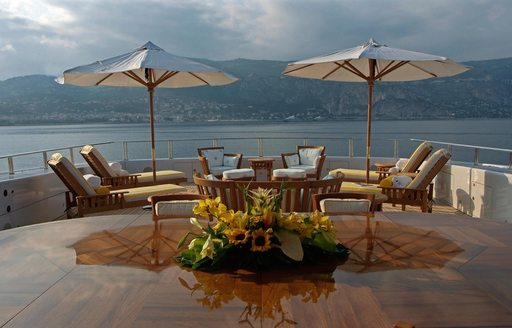 Loungers on the deck of superyacht OASIS