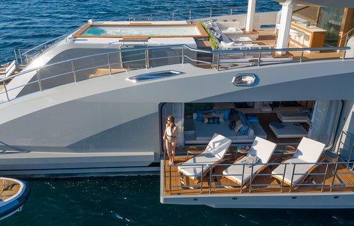 beach club with sea terraces on luxury yacht tatiana
