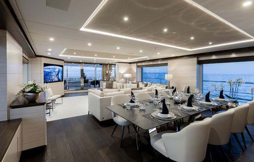 jacozami yacht main salon and dining area