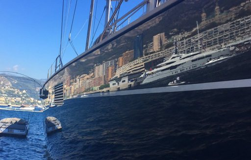 yacht reflection at the Monaco Yacht Show 2016