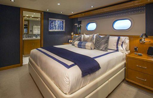 Master cabin on luxury yacht Far Niente