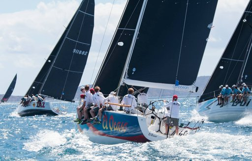 Boats on the water in the virgin island sailing in regatta