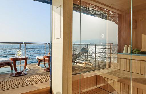 Side balconies on luxury yacht TIS