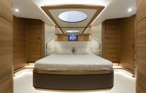 View of double bed on superyacht 55 FIFTYFIVE