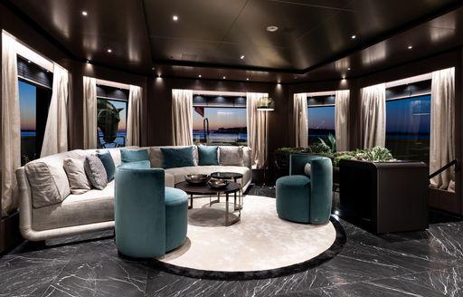 salon area on board superyacht SOLO
