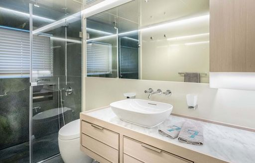 En-suite on explorer yacht 'Seven Diamonds', with sink and shower