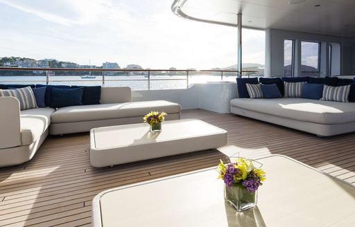 Motor yacht GO aft deck and sunpads
