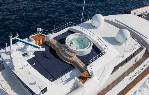 The sundeck of superyacht MIRAGGIO