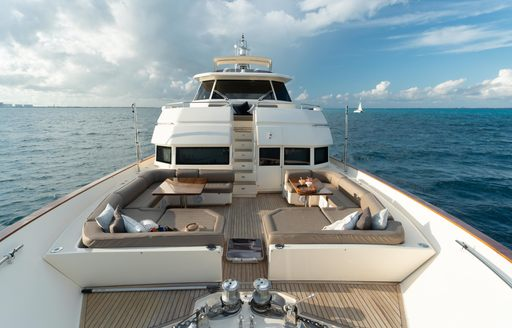 Sundeck on charter yacht NOMADA with comfy seating
