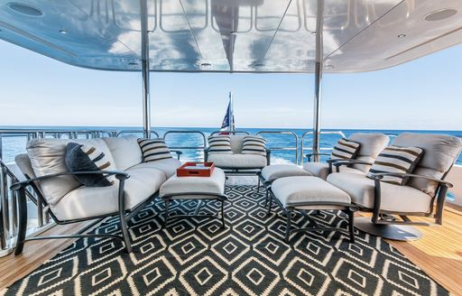 Comfortable seating on deck of superyacht ZEAL