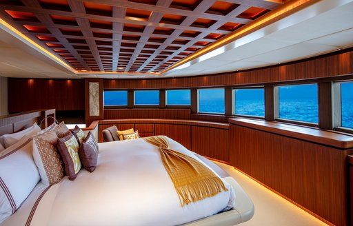 owners suite on luxury yacht tsumat, with panoramic views