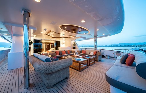aft deck seating area on charter yacht magenta m