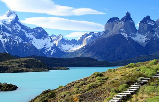 Wooden steps for hikers exploring the wilderness of Patagonia, South America.