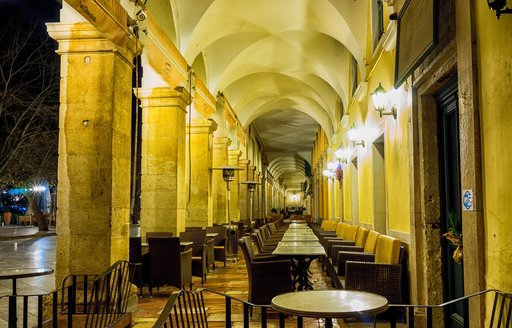 Collonade of cafes and restaurants on the Liston in Corfu