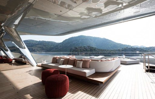 expansive sundeck with stainless steel columns aboard luxury yacht SAVANNAH