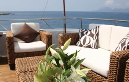 sundeck seating on superyacht daydream