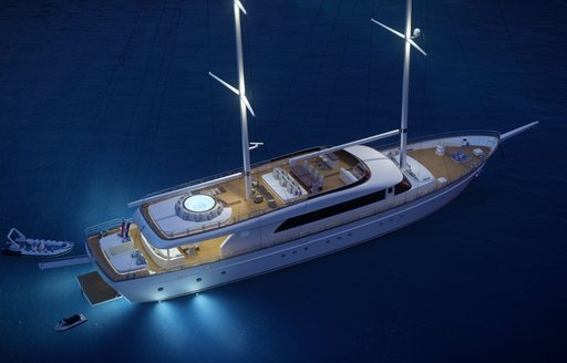 CGI view from above of sailing yacht Love Story