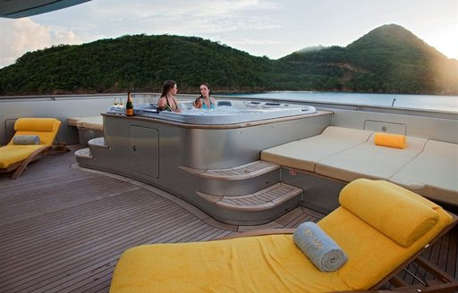 Spectacular views from charter yacht EXUMA's Jacuzzi
