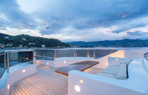 Foredeck of luxury yacht DIANE