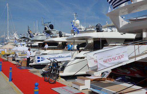 Line up of yachts from 2014's Mediterranean Yacht Show