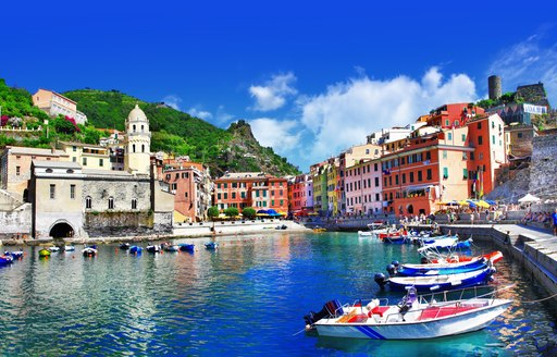 colourful harbour in italy