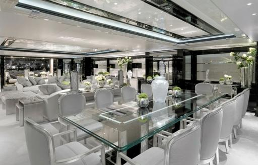 The formal dining space on board superyacht 'Silver Angel'
