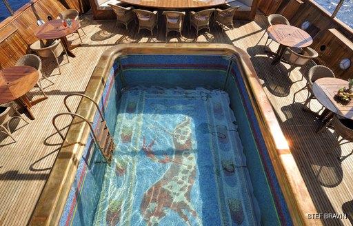 mosaic pool superyacht christina o