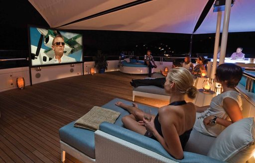 Charter guests can enjoy outdoor cinema on 'Polar Star' superyacht