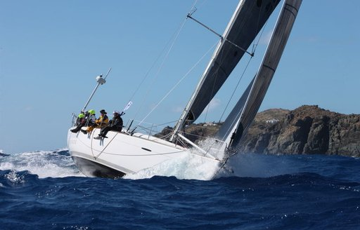 yacht in action in the RORC Caribbean 600