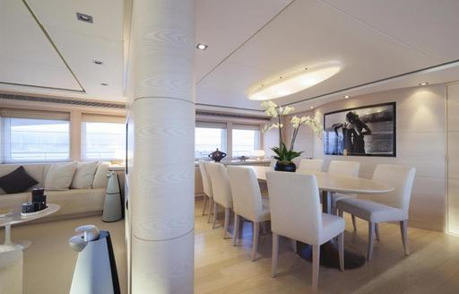 light, airy and modern dining salon aboard charter yacht G3