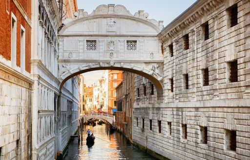 The bridge of sighs over a canal in Venice