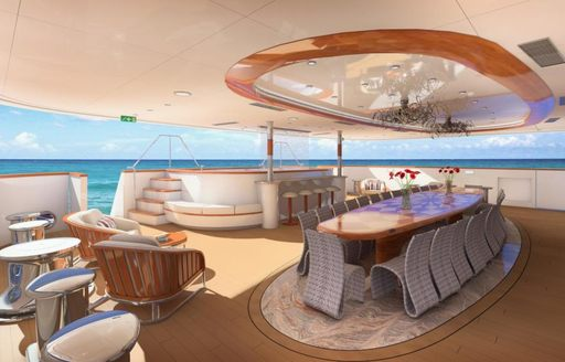 A rendering of the exterior of superyacht LEGEND