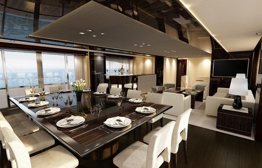 Formal dining area on board BLUSH