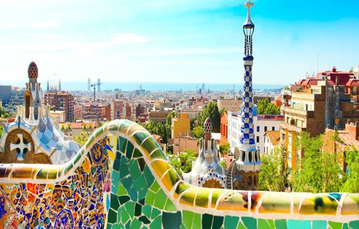 The famous Park Guell in Barcelona, Spain with colourful mosaics