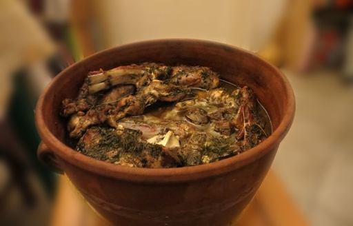 the roast lamb dish revithada from Sifnos